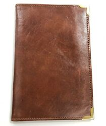 Vintage Brown Leather Passport Holder or Wallet Marked MARIANO RIVA