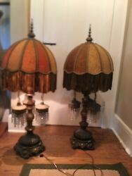 "Antique 2 Heavy BRASS amp; CRYSTAL LAMPS W Fringe Shades amp; Deco Finials 43"" Works $400.00"