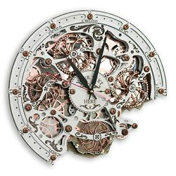 Automaton Bite White Wall Clock Handcrafted Steampunk Clock with Moving gears $159.00