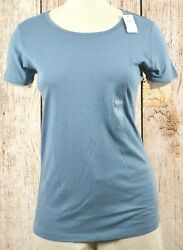 NWT Womens GAP Favorite Crew Neck T Shirt Bainbridge Blue 855544 $10.99