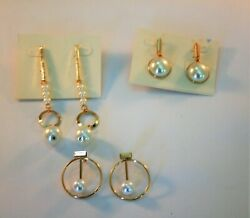 Lot of 3 gold tone multiple styles faux pearl dangle earrings $3.60