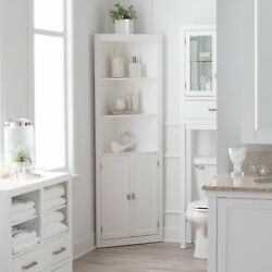 Classic White Freestanding Bathroom Corner Storage Cabinet Linen Storage Tower