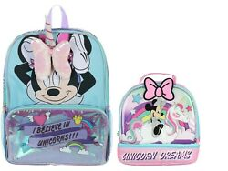 Disney Minnie Mouse Unicorn Girls School Backpack Lunch box Book Bag Gift Toy $32.99