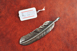 GORO'S 925 Silver XL Extra Large Size Feather Pendant #32774