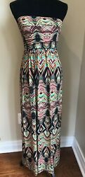 MLLE GABRIELLE Multi-Colors Strapless Smocked Back Maxi Dress size Small