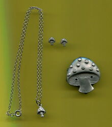 Pewter MUSHROOM  pierced Earrings Necklace Pin and Case for  Young Girl NEW