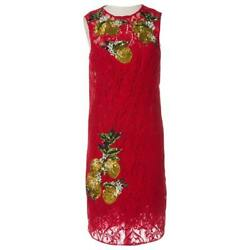 RUNWAY LEMON SEQUINED RED LACE PENCIL DRESS DOLCE & GABBANA  42IT 38FR