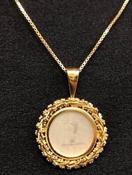 14 kt Gold Filigree Pendant with Japanese Carving on White Stone