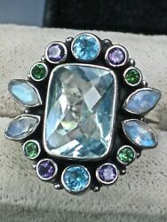 KNOCKOUT COLOR IN A NICKY BUTLER STERLING   RING IN A LUCKY SIZE 11