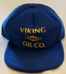 Vintage Sunoco Viking Oil CO. Trucker Snapback Hat Blue One Size Fits All $12.49