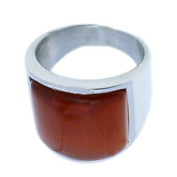 Retro Style Mens Personalized Stainless Steel Orange Opal Square Band Ring $10.05
