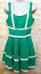 XXL Collection Women Size 4 Green Fit &Flare Mini Dress Sleeveless Lace Trim.104 $18.75