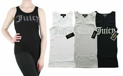 Juicy Couture Tank Top Women's Gothic Crystal Logo Ribbed Sleeveless Shirt $17.00