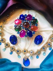 vintage high end rhinestone jewelry lot Gorgeous & Colorful Huge Brooch👀 3 Pc.