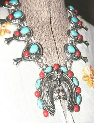gorgeous enhanced turquoise & coral stones squash blossom necklace & earrings
