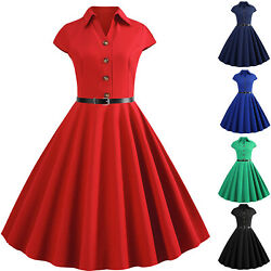 Women's 1950s 60s Swing Vintage Retro Pinup Rockabilly Plain Evening Party Dress