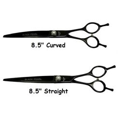 Professional Pet Grooming Shears Black Pearl Even Handle Straight or Curved 8.5quot; $189.89