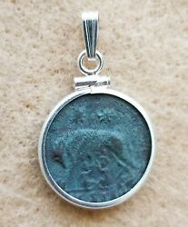 Constantine the Great Genuine Coin She Wolf Romulus & Remus 925 Silver Pendant