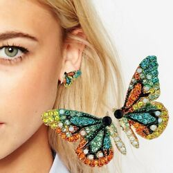Fashion Charm Gold Tone Crystal Rhinestone Butterfly Stud Earrings Lady Jewelry