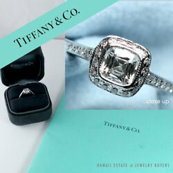 TIFFANY & CO 0.41CT LEGACY CUSHION CUT DIAMOND PLATINUM ENGAGEMENT RING SIZE 4