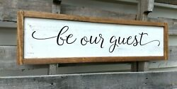 Farmhouse Wood Sign BE OUR GUEST Large Country Wooden rustic White 24 inch