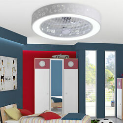 21.7quot; Round Ceiling Fan Lamp LED Chandelier Light Modern Remote Control BedRoom $121.98