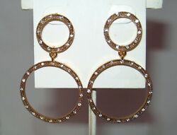 Etienne Aigner gold tone with crystals pierced double hoop earrings NWT Vintage