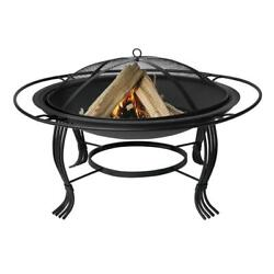 UniFlame Wood Burning Fire Pit 30 in Diameter Black w Outer Ring and Wood