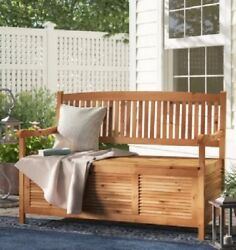 Seating Bench for Patio Garden Yard Indoors Storage Solid Acacia Wood Teak Brown