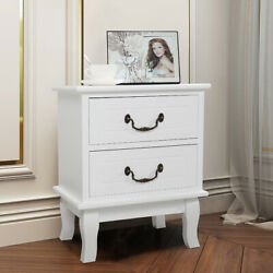 White Nightstand Wooden Bedside End Table Bedroom Furniture W2 Drawer Storage