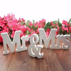3PcsSet Wooden Mr and Mrs Letters Sign Standing Top Table Wedding Decoration US