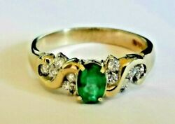 GREEN EMERALD & DIAMOND 9ct 375 GOLD yellow RING swirling band cluster style New