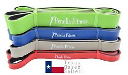 Penella Fitness Resistance Band SET of 4! Heavy Duty Pull up Assistance Bands