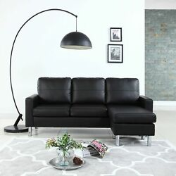 Modern Bonded Leather Sectional Sofa - Small Space Adjustable Couch - Black $279.99