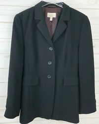 Womens She Blazer Jacket Lined Coat Button Black Size 10 Large Shirt Top