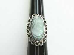 Vintage 925 Sterling Silver and Abalone Ring Marked With Mexico Eagle 2 Size 5.5