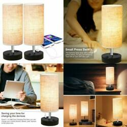 Desk Lamp 2 Set Bedside Table Lamp With Dual USB Charging Port Nightstand Bedroo