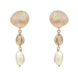 Scallop Cowrie Shell Baroque Pearl Gemstone Long Drop Earrings Pink Rose Gold