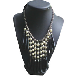 New Chandelier Necklace Long Black Beads Faux Pearls Statement Costume Jewelry $7.99