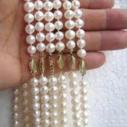 """6PC AAAA  natural south sea Round white pearl necklace 18"""" 14K GOLD CLASP"""