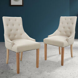 Set of 2 Dining Chair Tufted Linen Fabric Upholstered w Solid Wood Legs Beige