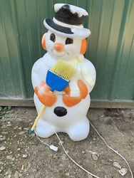 Snowman W Broom & Orange Gloves And Ear Muffs Lighted Blow Mold Christmas Decor