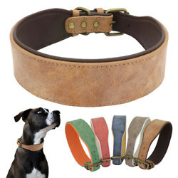 Wide Leather Dog Collar Large Best Full Grain Heavy Duty Dog Collars Durable $13.99