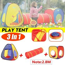 3 in 1 Play Tent Tunnel Set Child Baby Play House Ball Pit Outdoor Toy Kids