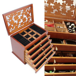 Large Retro 6 Layers Wooden Jewellery Box Necklace Ring Storage Cabinet Display