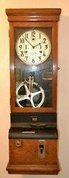 Antique (1923) International Time Recording Clock with Electric Bell Circuit