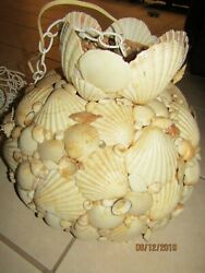Vintage Seashell Covered Rattan Swag Light - Boho- Beach House - She Shed