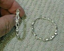 Vintage Silvertone Hoop Pierced Earrings With Clear Rhinestones