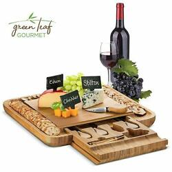 Bamboo Cheese Board with Cutlery Set Wooden Charcuterie Platter Serving Meat $31.99