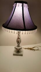 VINTAGE PORCELAIN WITH EMBOSSED 3 D FLOWERSamp;MARBLE BASE TABLE LAMP BEADED SHADE $49.99